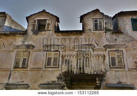 An historic old derelict building in Skradin old town Sibenik-Knin County Croatia.
