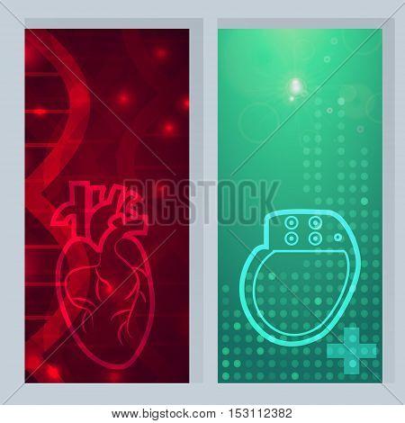 Heart pacemaker lifesaver logo - 2 medical wallpaper, vector illustration.Heart logo on gene chain dna pattern.Heart Pacemaker on green blur pattern.Medical wallpaper for medical site, cardiology clinic