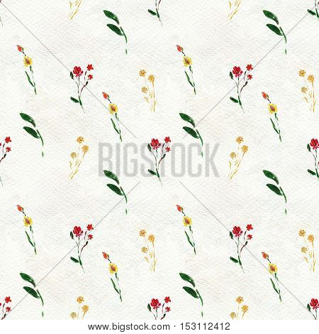 Seamless pattern with red flowers and leaves. Floral watercolor background.