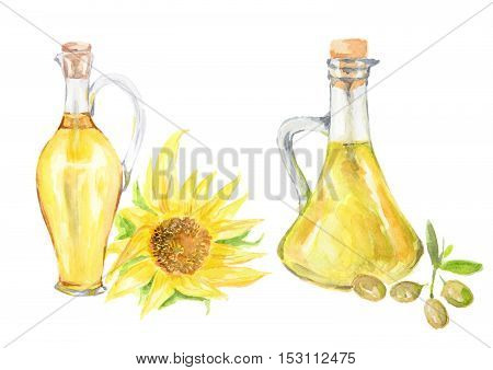 Watercolor sunflower and olive oil bottles with sunflower on white background. Healthy and useful oil for frying and dressing.