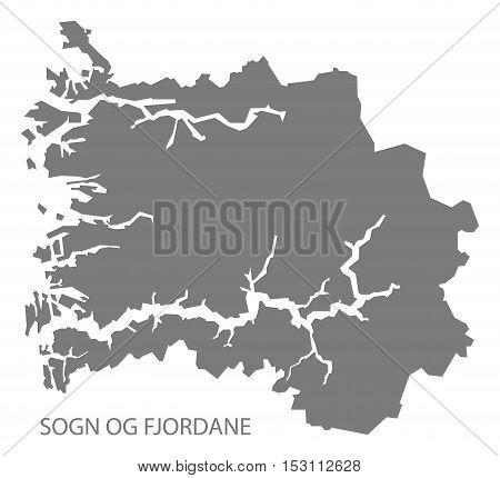Sogn og Fjordane Norway Map grey illustration high res