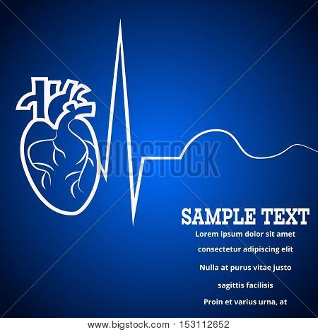 Heart pulse logo - medical wallpaper, vector illustration.Heart logo and pulse beat cardiogram logo blue blur wallpaper.Pulse line heart monitoring.Medical wallpaper for medical site, cardiology clinic