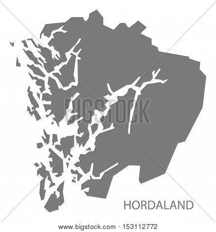 Hordaland Norway Map grey illustration high res
