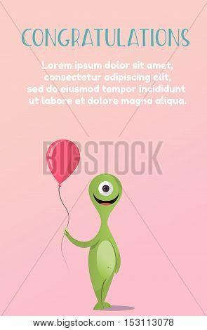 Bright Happy monster with colored balls. The flat style. Congratulations on the holiday.Vector concept background