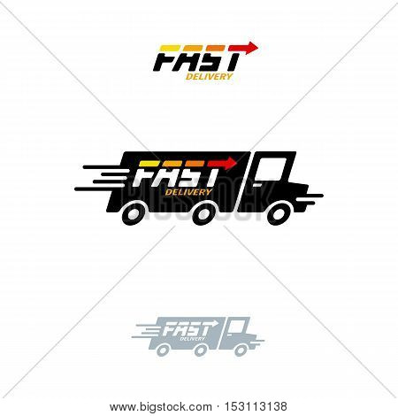 Fast Delivery Vector Logo. Truck Icon And Lettering On White Background.