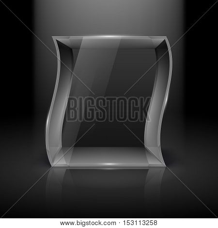 Empty Glass Showcase in Wave Form with Spot Light for Presentation on Black