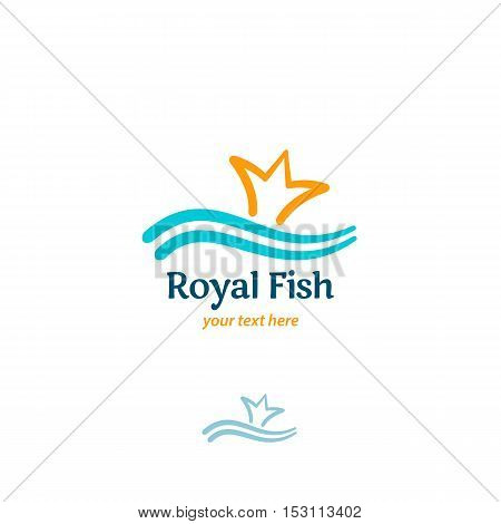 Royal Fish - Vector Logo Concept. Fish Tail In Form Of Crown And Wave Vector Illustration. Vector Lo