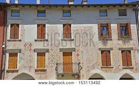 An historic old building in the small Italian town of San Vito al Tagliamento in Friuli Venezia Giulia.