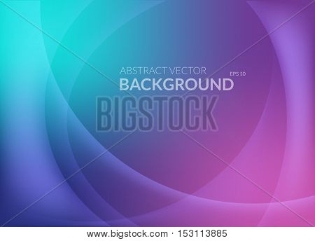Violet and blue abstract background with smooth round lines and glowing light on top.