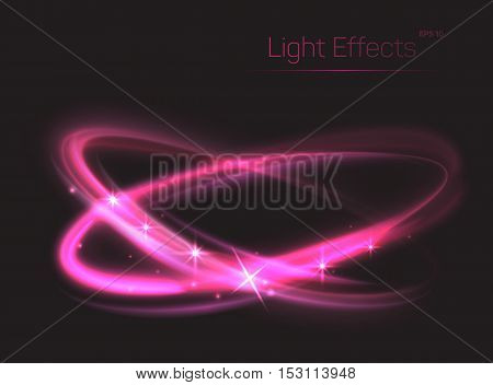 Abstract background with pink ovals or glitter red circles. Neon or plasma particle smooth movement with glow or radiance. Can be used for show or entertaining, magic theme