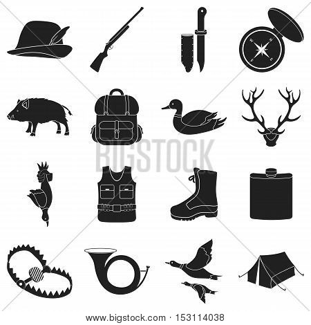 Hunting set icons in black style. Big collection of hunting vector symbol.