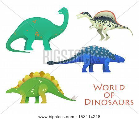 Prehistoric or jurassic dinosaurs. Brachiosaurus and brachiosauridae, stegosaurus and spinosaurus, saichania or beautiful one, brontosaurus excelsus. For zoology or history theme