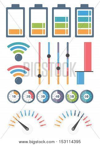 Set of different indicators, vector eps10 illustration
