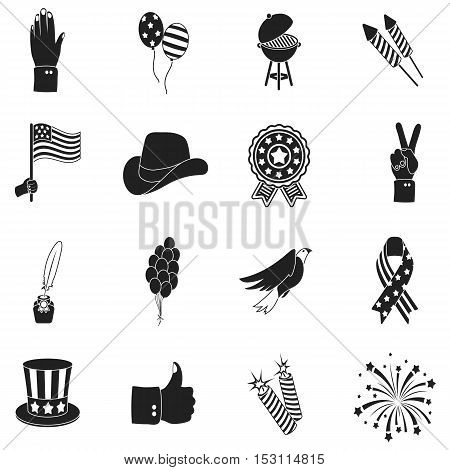 Patriot Day set icons in black style. Big collection Patriot Day vector symbol stock