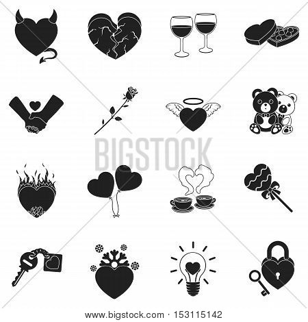 Romantic set icons in black style. Big collection romantic vector symbol stock