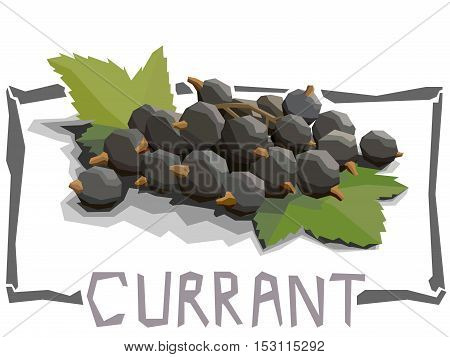 Vector simple illustration of currant in angular cartoon style.