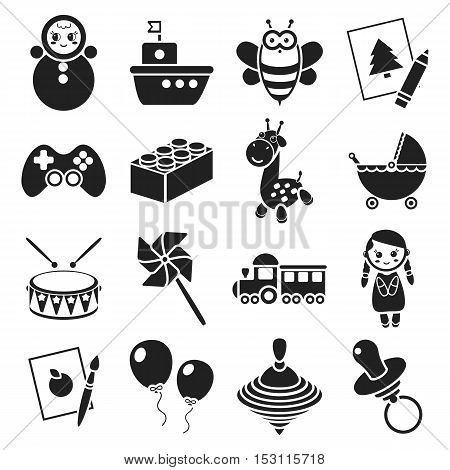 Toys set icons in black style. Big collection toys vector symbol stock