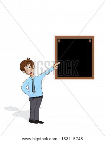 cartoon reacher is pointing to blackboard on the wall