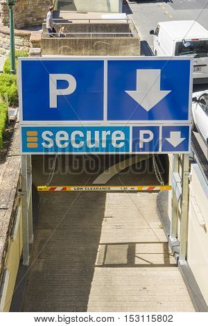 Brisbane, Australia - September 26, 2016: View of the entrance of Secure Parking with signage in Brisbane during daytime. Secure Parking is the largest Australian-owned car park operator in Australia.