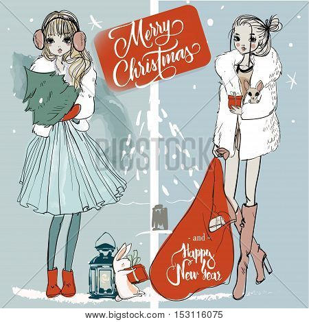 two fashion cute christmas sketchy vector girls