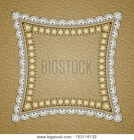 Square patch with lace border on leather background. Vector illustration