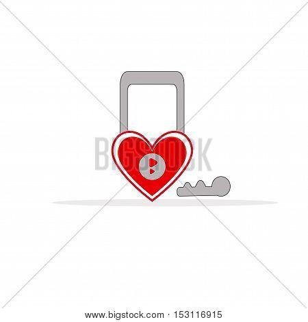 hart key icon vector art on white background