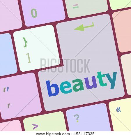 Beauty Word On Keyboard Key, Notebook Computer Button