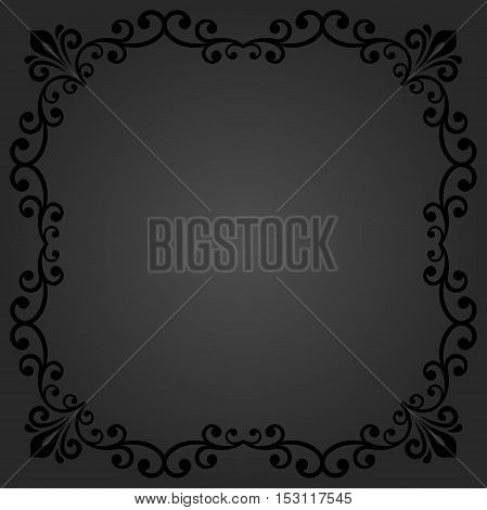 Classic vector square frame with arabesques and orient elements. Abstract fine ornament with place for text