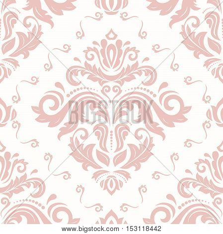 Seamless pink classic vector pattern. Traditional orient ornament