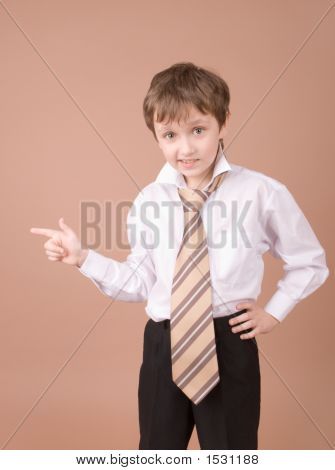 Young Businessman Showing Something