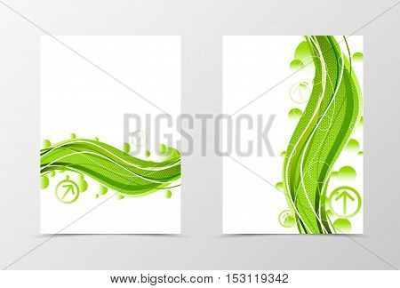 Front and back dynamic natural flyer template design. Abstract template with green flower with hexagon surface in digital floral style. Vector illustration
