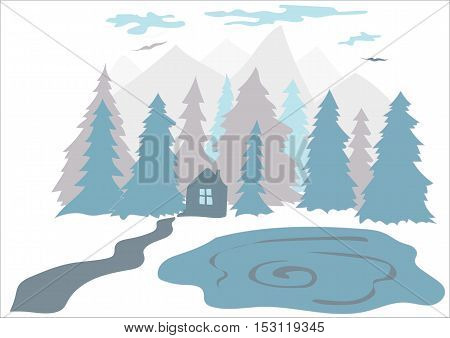 Small house in the forest near the lake and mountains