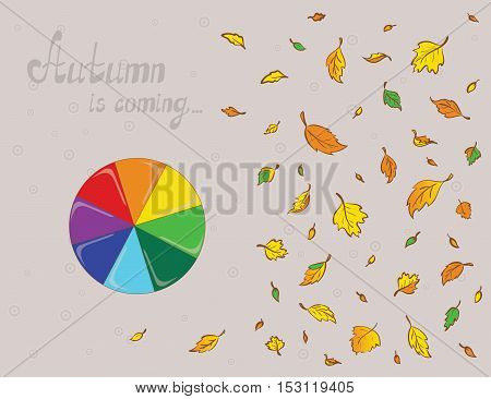 Illustration of a rainbowy umbrella and colored leaves. Plan view