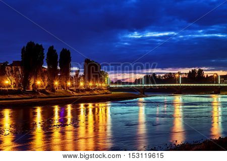Beautiful Reflection Of Lanterns In The River In The City Uzgorod Ukraine.
