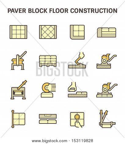 Paver block floor construction vector icon set design.