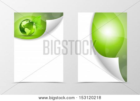 Front and back dynamic eco flyer template design. Abstract template with green globe in floral style. Vector illustration