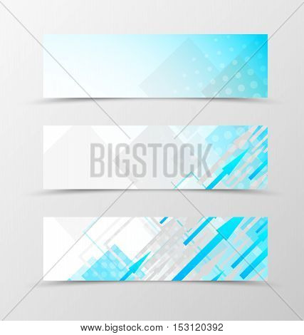 Set of header banner dynamic geometric design with blue and gray arrows and squares with halftone effect in digital style. Vector illustration