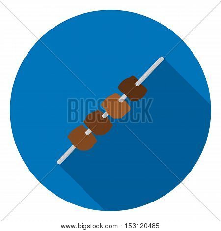 Meat kebab icon in flat style isolated on white background. Camping symbol vector illustration.