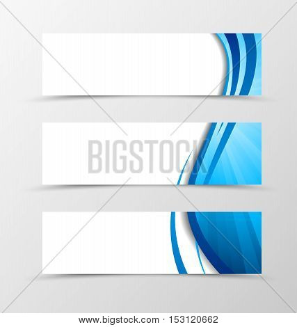 Set of header banner dynamic wave design with blue lines in dynamic smooth style. Vector illustration