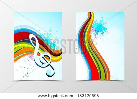 Front and back dynamic wave flyer template design. Abstract template with colorful lines and treble clef in grunge style. Vector illustration