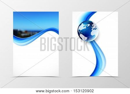 Front and back dynamic wave flyer template design. Abstract template with blue lines, photo and globe in smooth style. Vector illustration