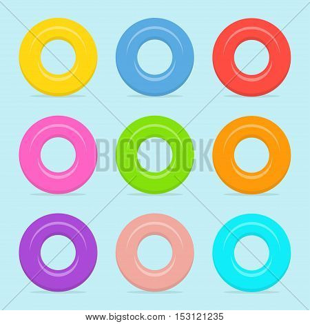 Colored swimming or rubber rings vector set in flat style. Icons Inflatable rings isolated from the background. Symbols of summer vacation or holiday.