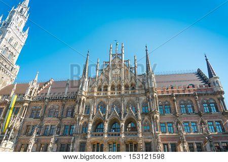 Traditional street view of marienplatz in Munich, Germany