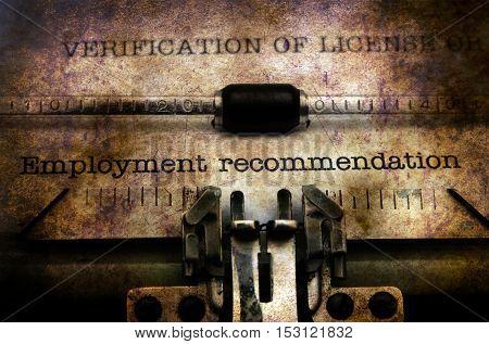 Employment Form On Vintage Typewriter