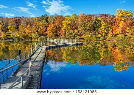 The footbridge across George Lake in Schooly's Mountain Park in Morris County NJ.
