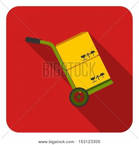 Truck with boxes icon in flat style isolated on white background. Logistic symbol vector illustration.