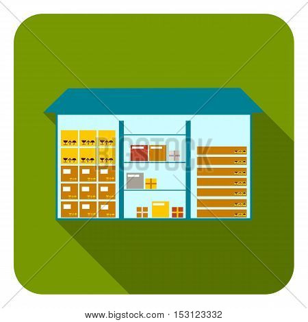 Warehouse icon in flat style isolated on white background. Logistic symbol vector illustration.