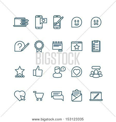 Testimonials, client relationship, feedback, inquiry thin line vector icons. Support and communication illustration