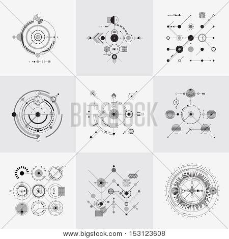 Scientific bauhaus technology circular grids vector set. Structure geometric pattern illustration