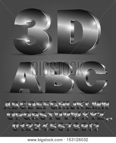 3D alphabet vector black font with alphabet letters and numbers